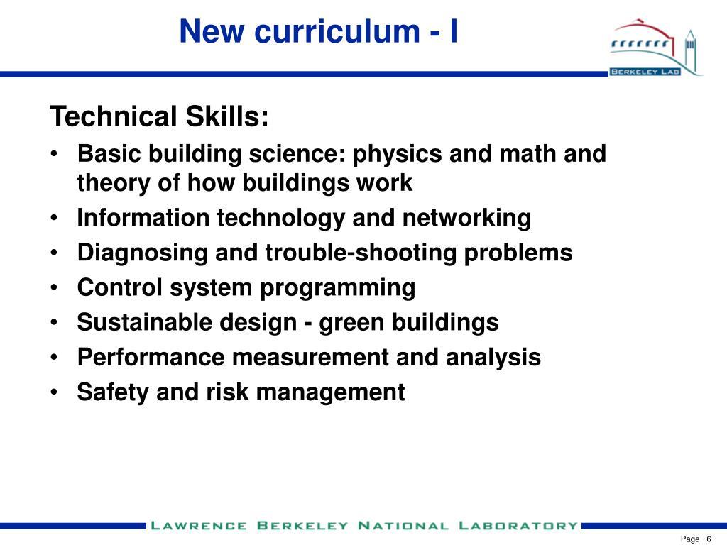 New curriculum - I