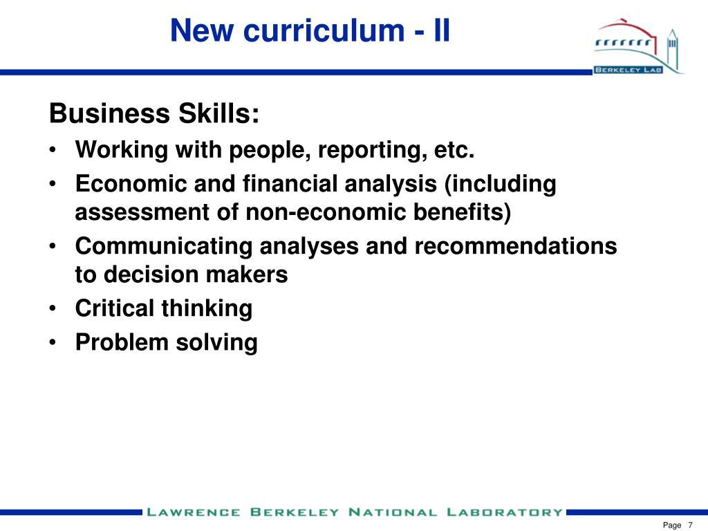 New curriculum - II