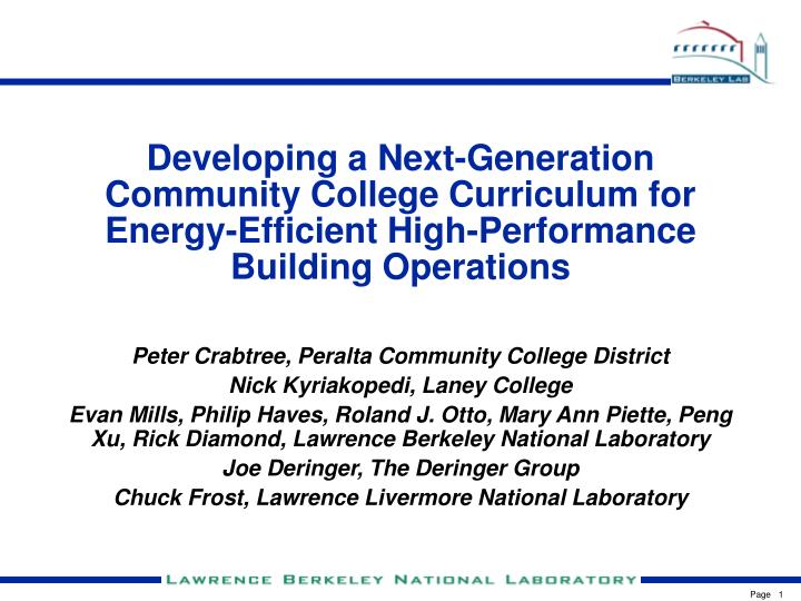 Developing a Next-Generation Community College Curriculum for Energy-Efficient High-Performance Buil...
