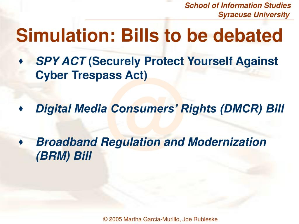 Simulation: Bills to be debated