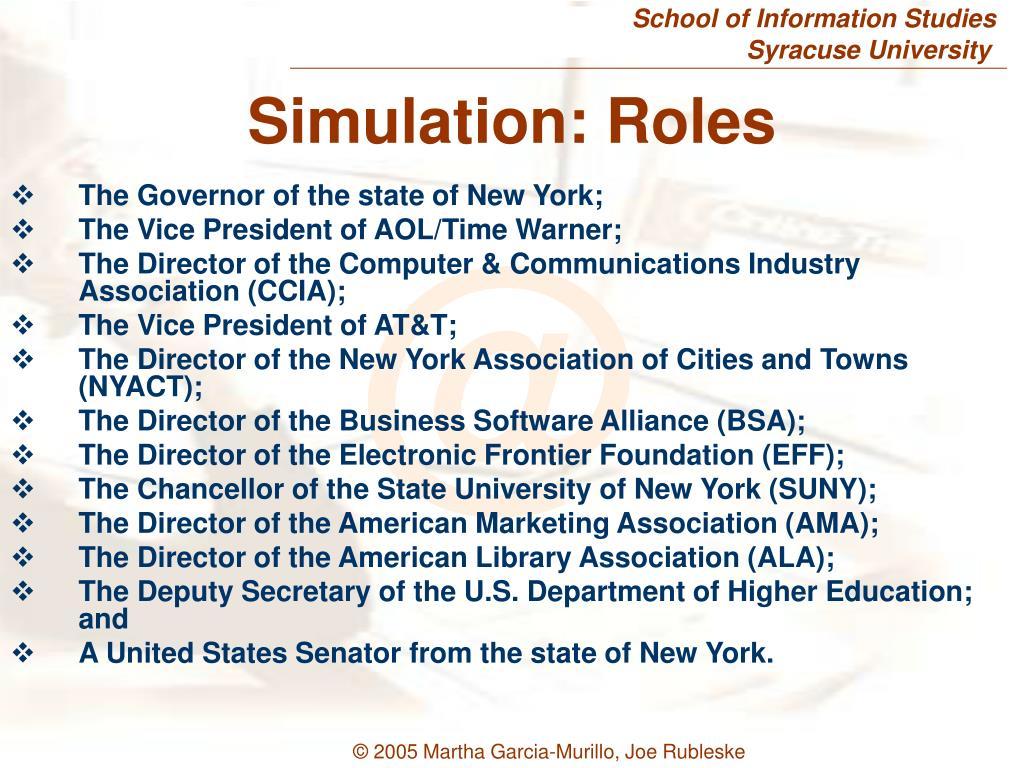 Simulation: Roles