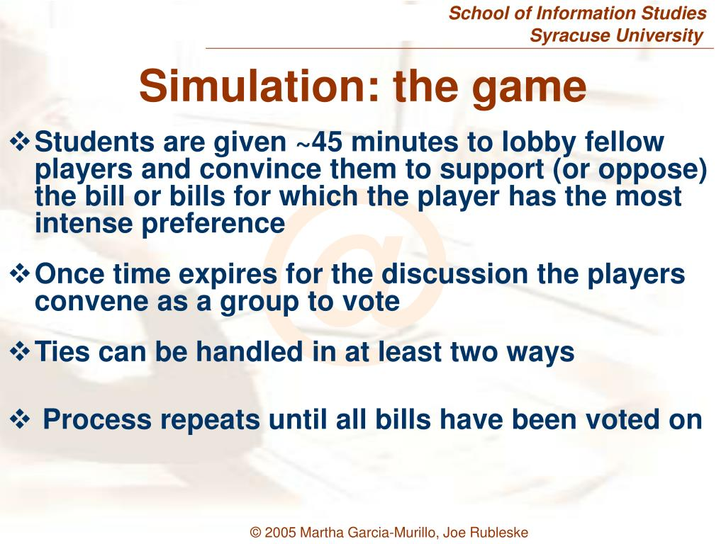 Simulation: the game