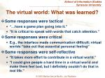 the virtual world what was learned