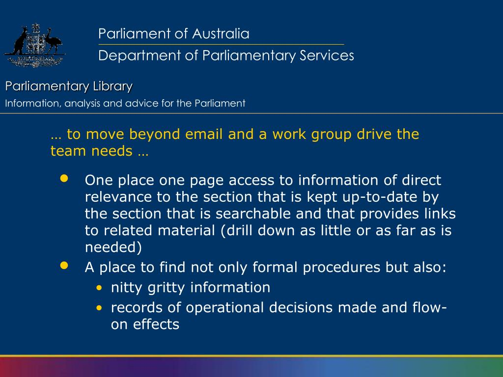 … to move beyond email and a work group drive the team needs …