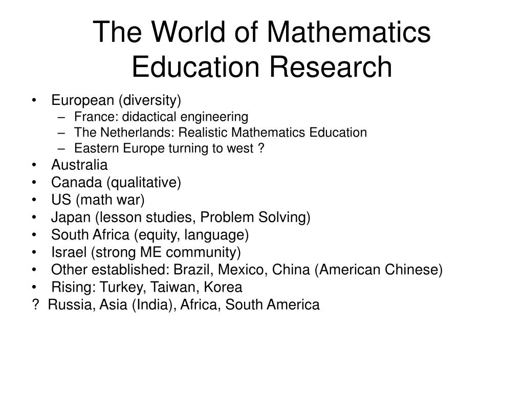 The World of Mathematics Education Research