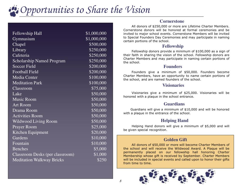 Opportunities to Share the Vision