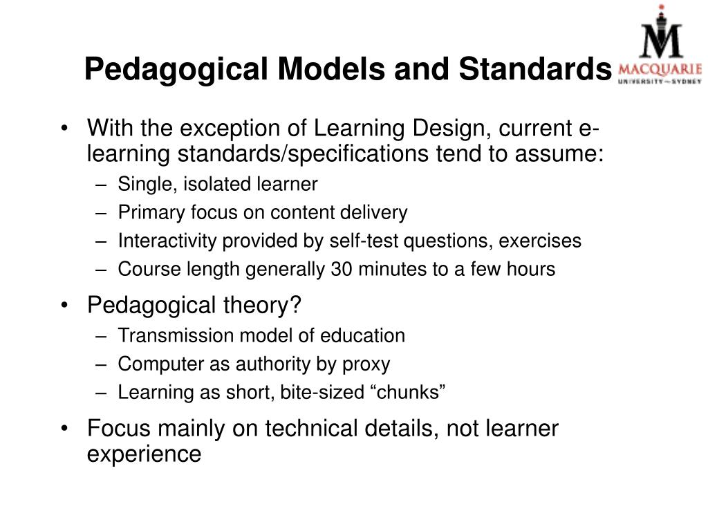 Pedagogical Models and Standards