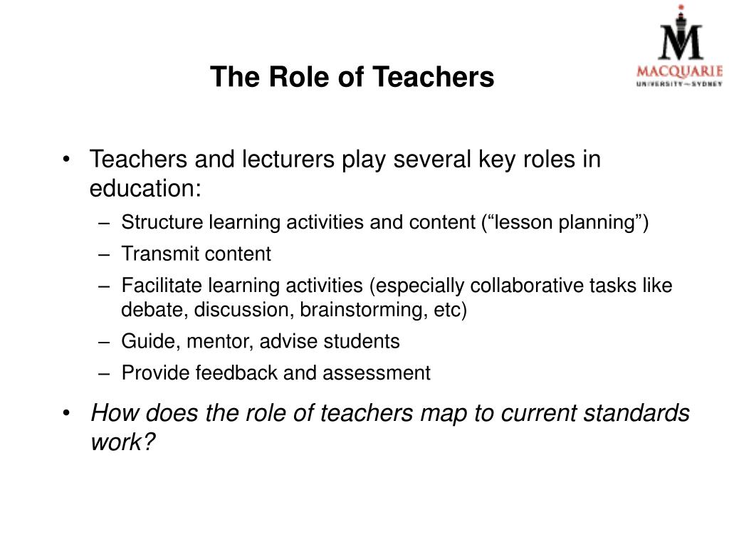 The Role of Teachers