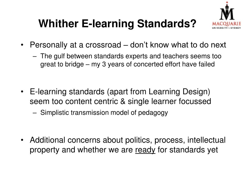 Whither E-learning St