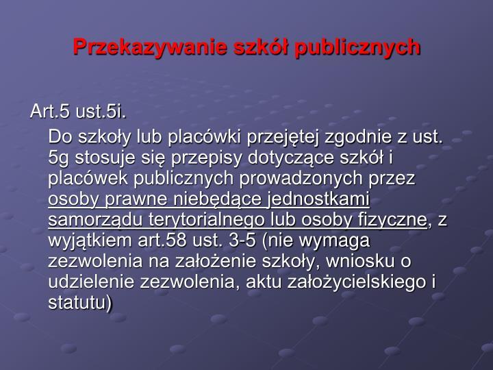 Przekazywanie szkół publicznych
