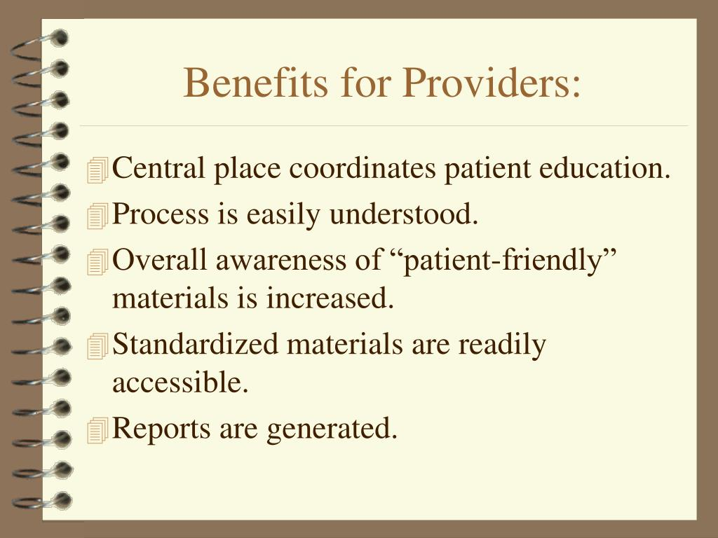 Benefits for Providers: