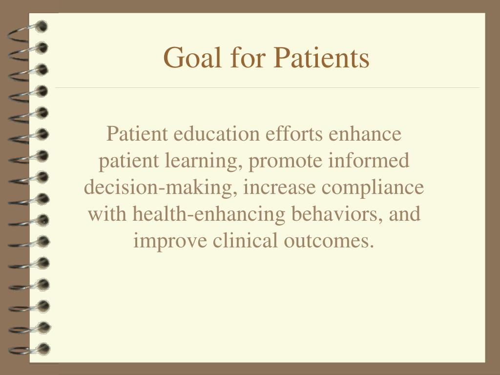 Patient education efforts enhance patient learning, promote informed decision-making, increase compliance with health-enhancing behaviors, and improve clinical outcomes.