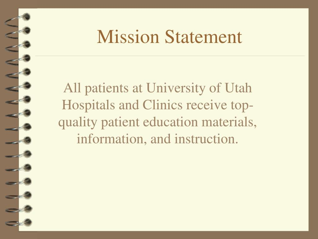 All patients at University of Utah Hospitals and Clinics receive top-quality patient education materials, information, and instruction.