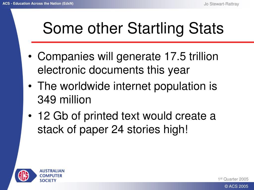 Some other Startling Stats