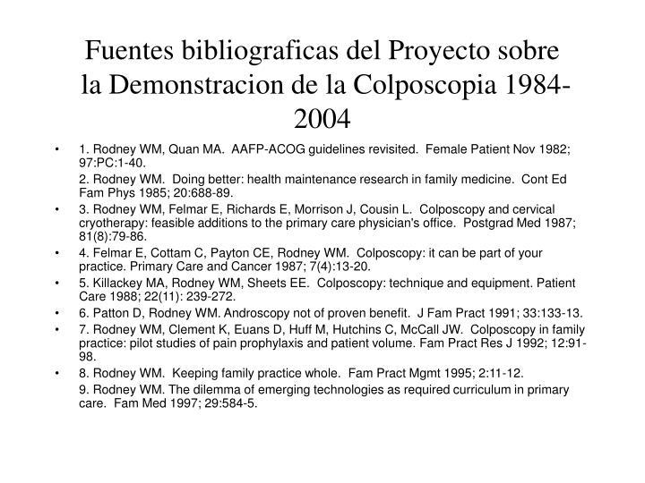Fuentes bibliograficas del Proyecto sobre