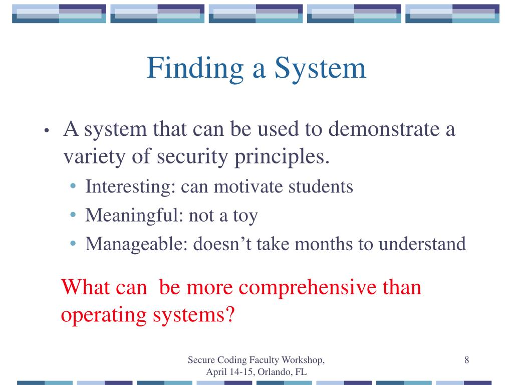 Finding a System