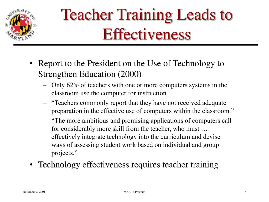 Teacher Training Leads to Effectiveness