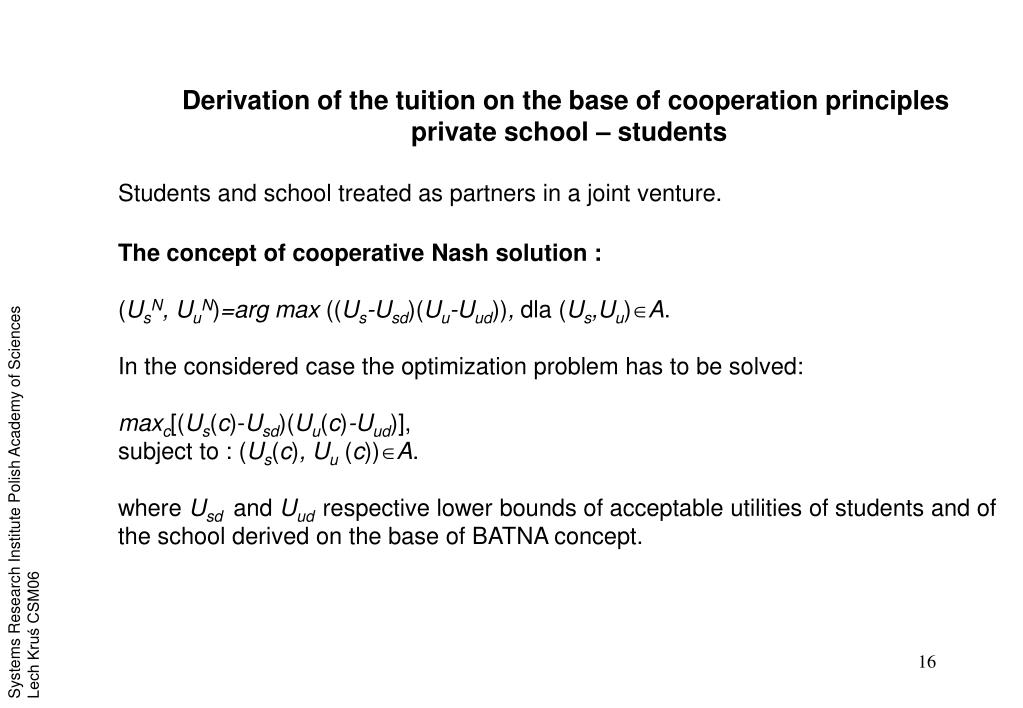 Derivation of the tuition on the base of cooperation principles