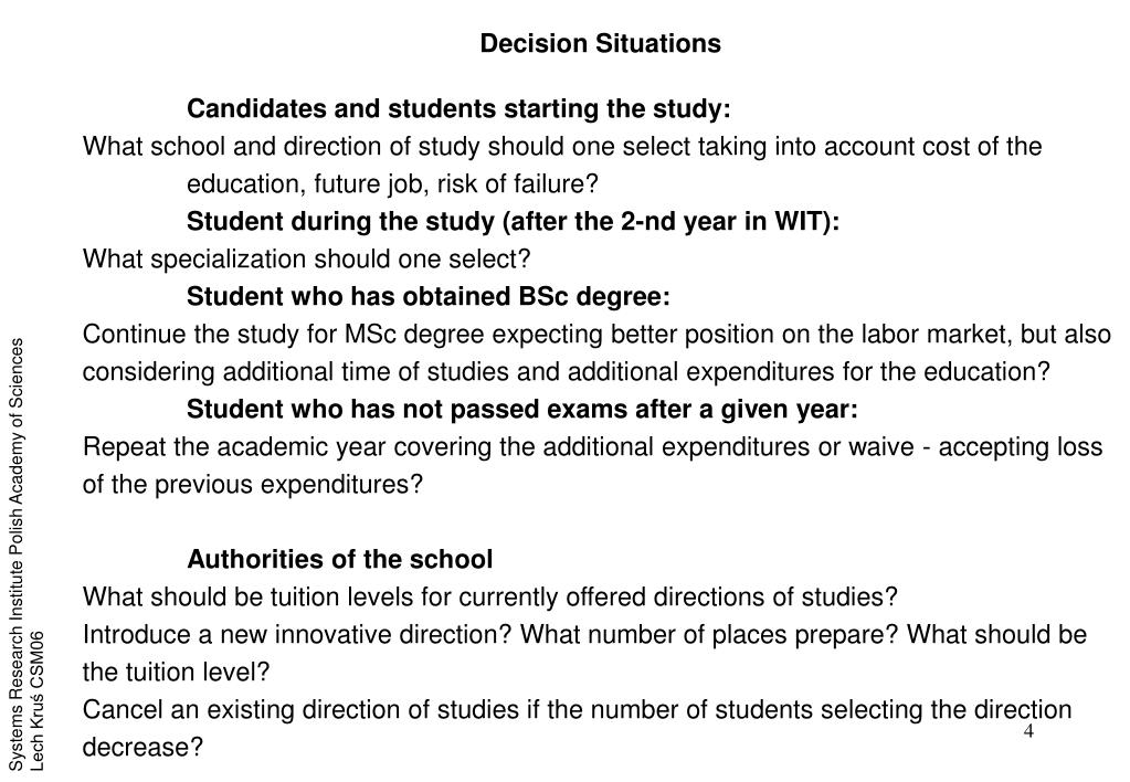 Decision Situations