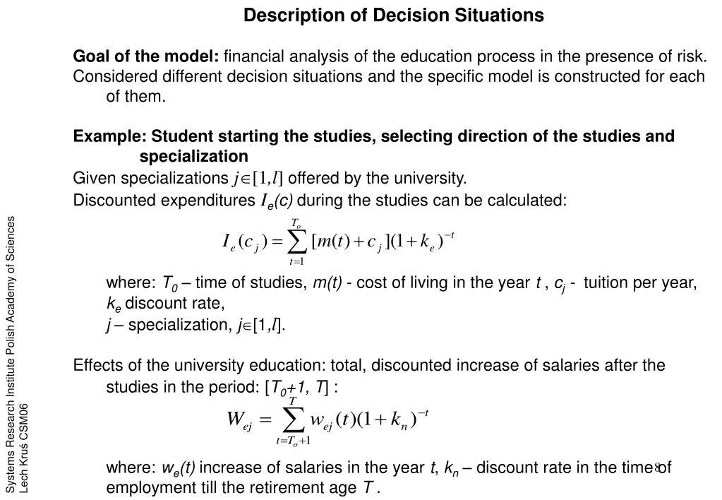 Description of Decision Situations