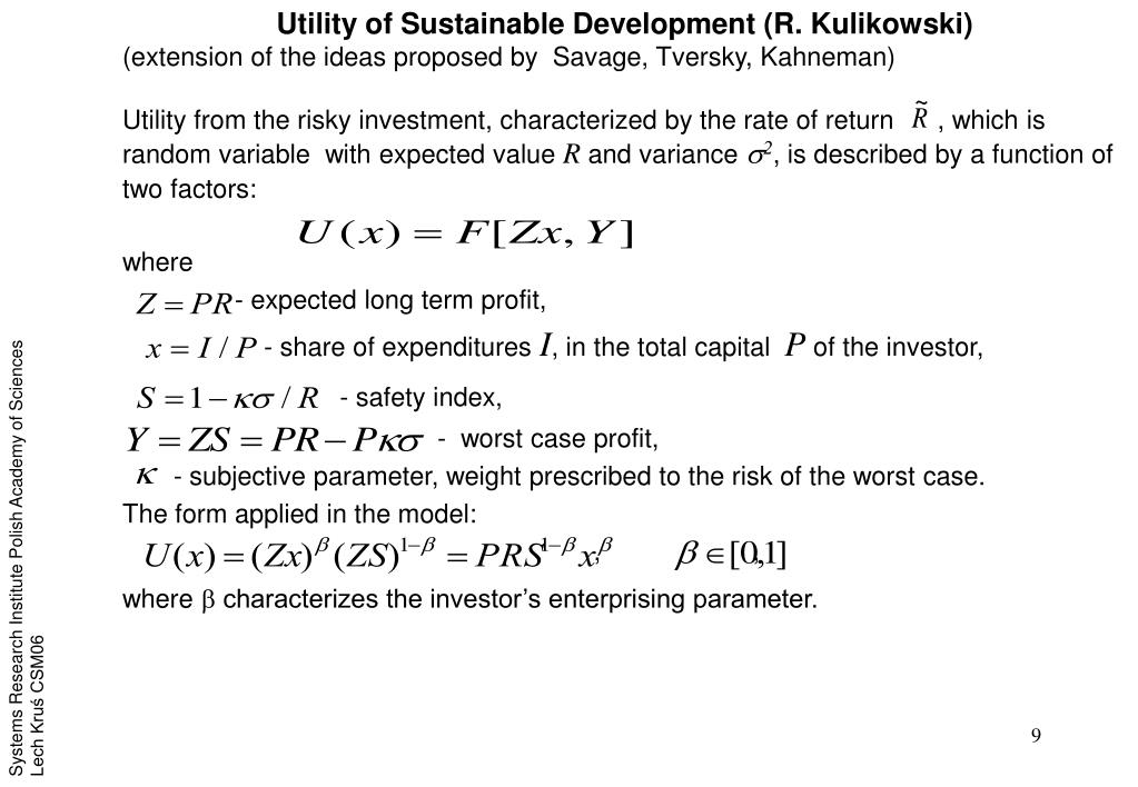 Utility of Sustainable Development (R. Kulikowski)