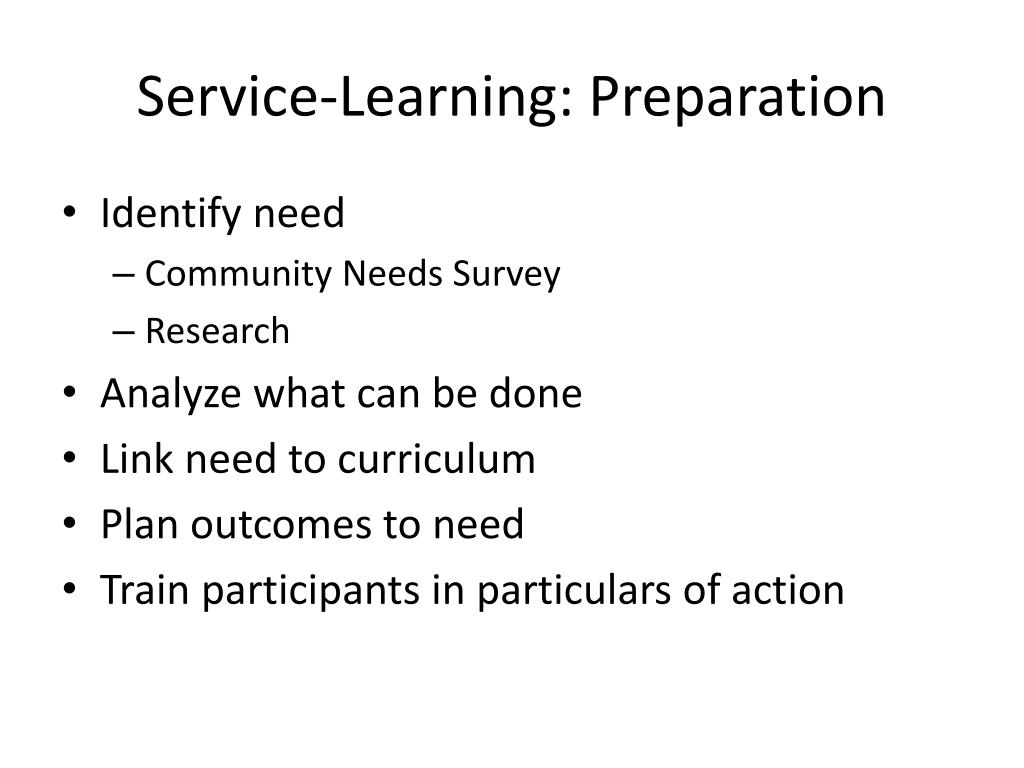 Service-Learning: Preparation