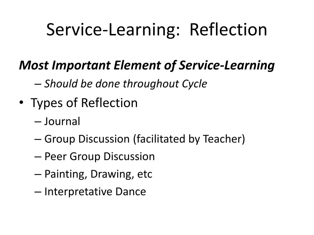 Service-Learning:  Reflection
