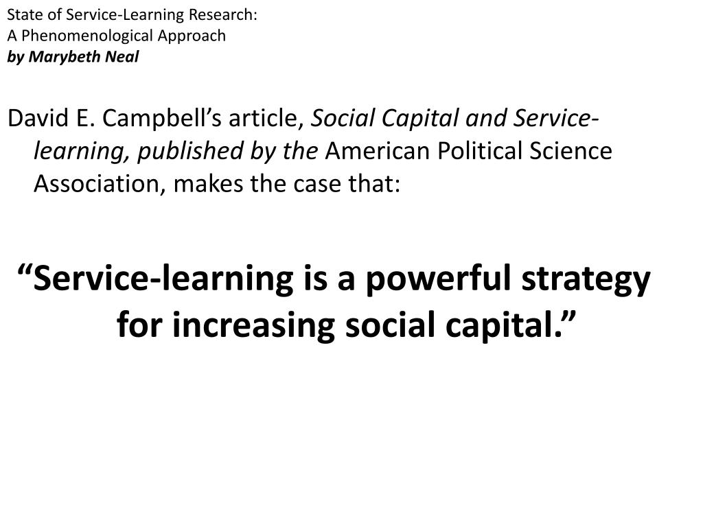State of Service-Learning Research: