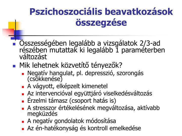 Pszichoszocilis beavatkozsok sszegzse