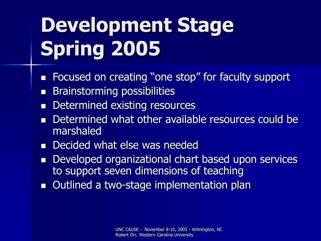 Development Stage Spring 2005