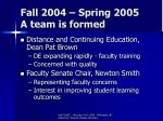 fall 2004 spring 2005 a team is formed