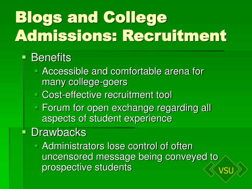 Blogs and College Admissions: Recruitment