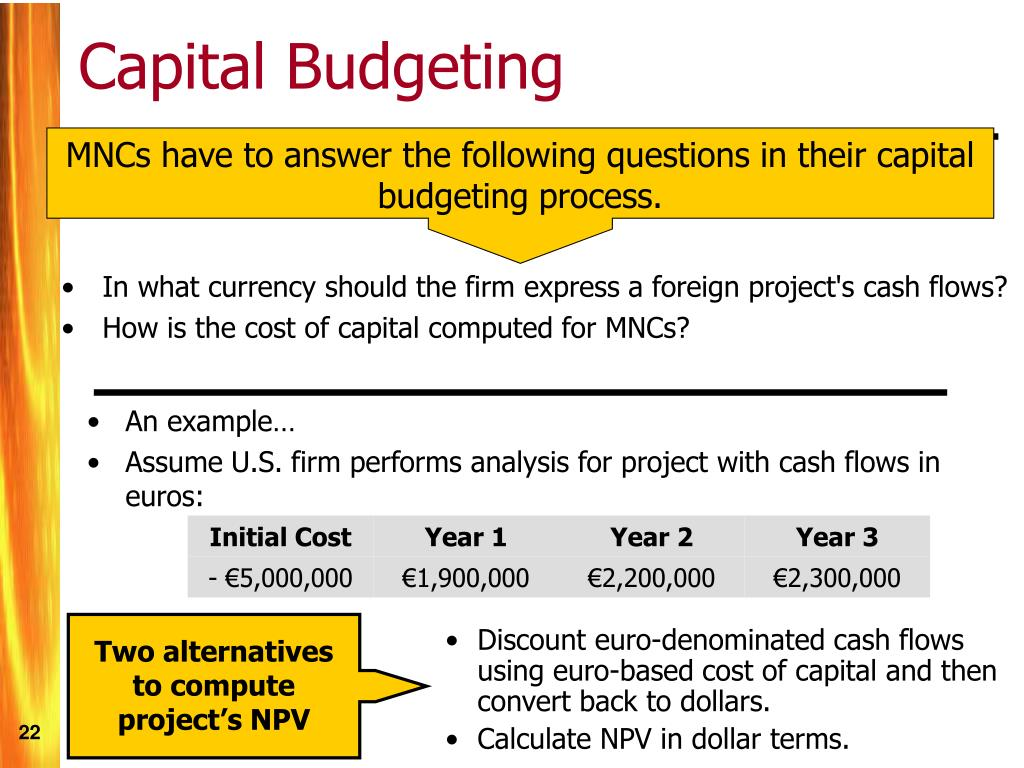 MNCs have to answer the following questions in their capital budgeting process.