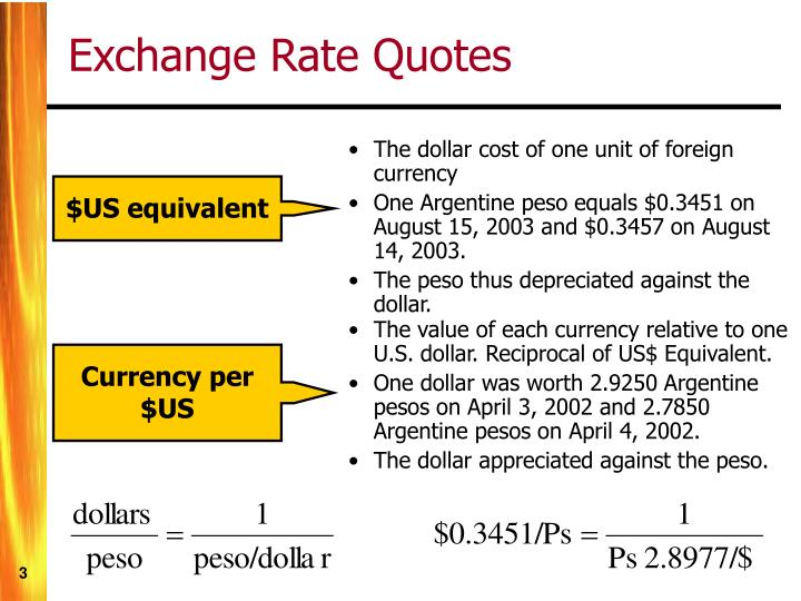 The dollar cost of one unit of foreign currency