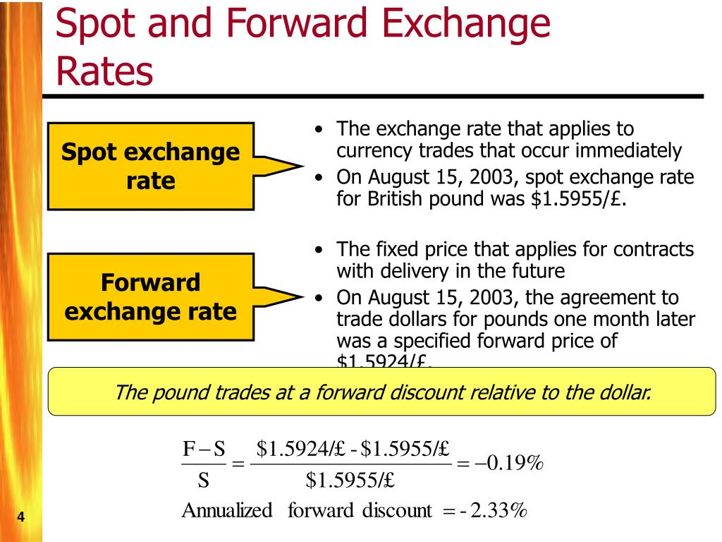 The exchange rate that applies to currency trades that occur immediately
