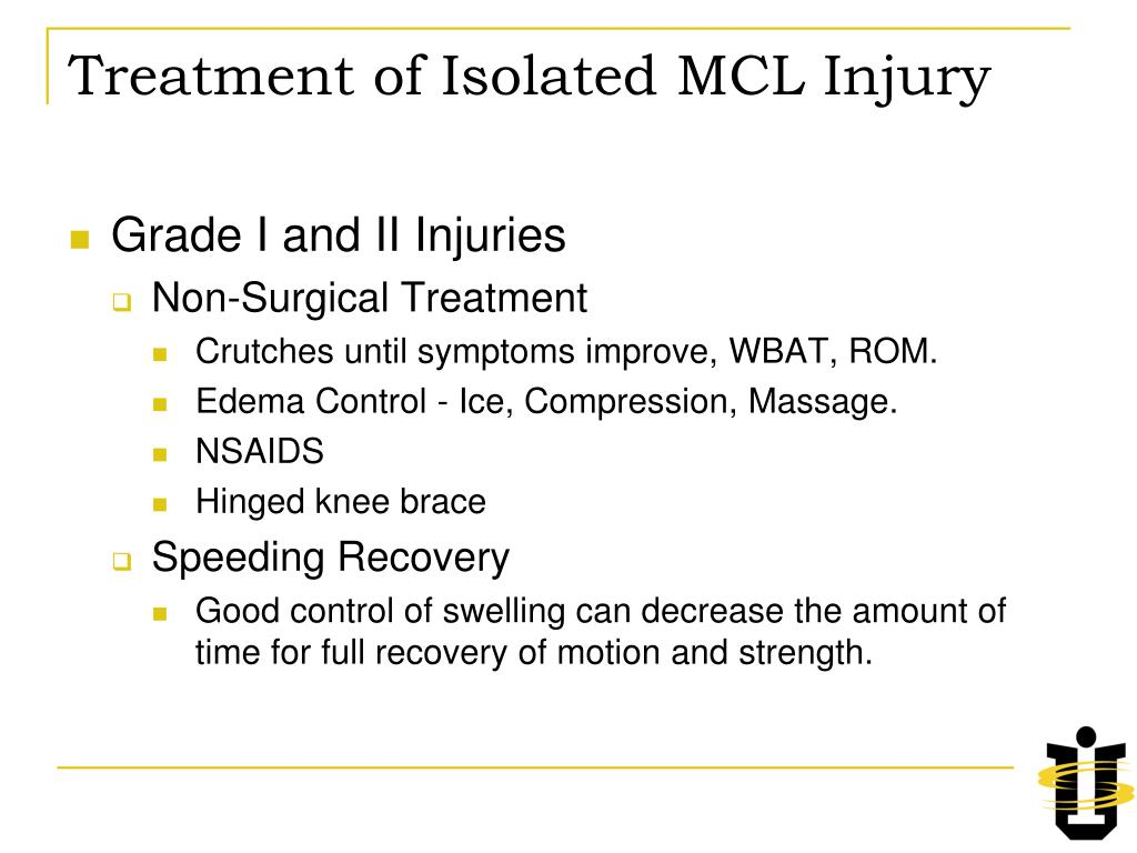 Treatment of Isolated MCL Injury