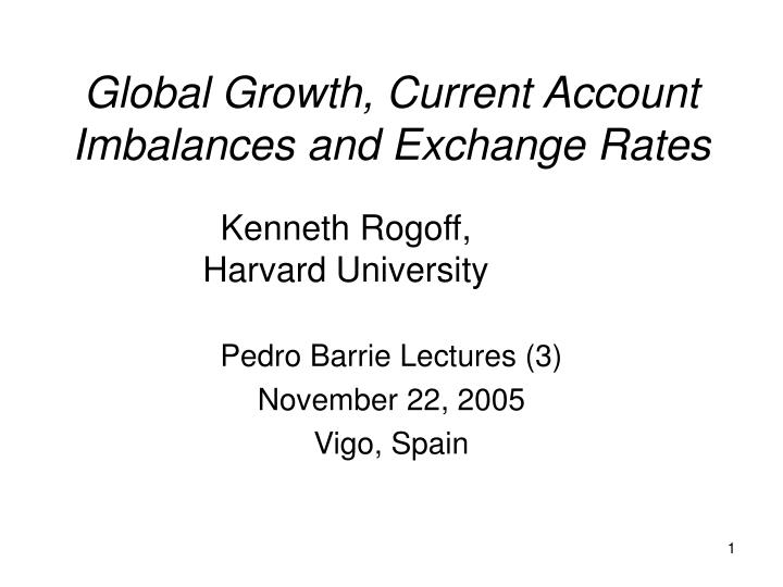 Global growth current account imbalances and exchange rates