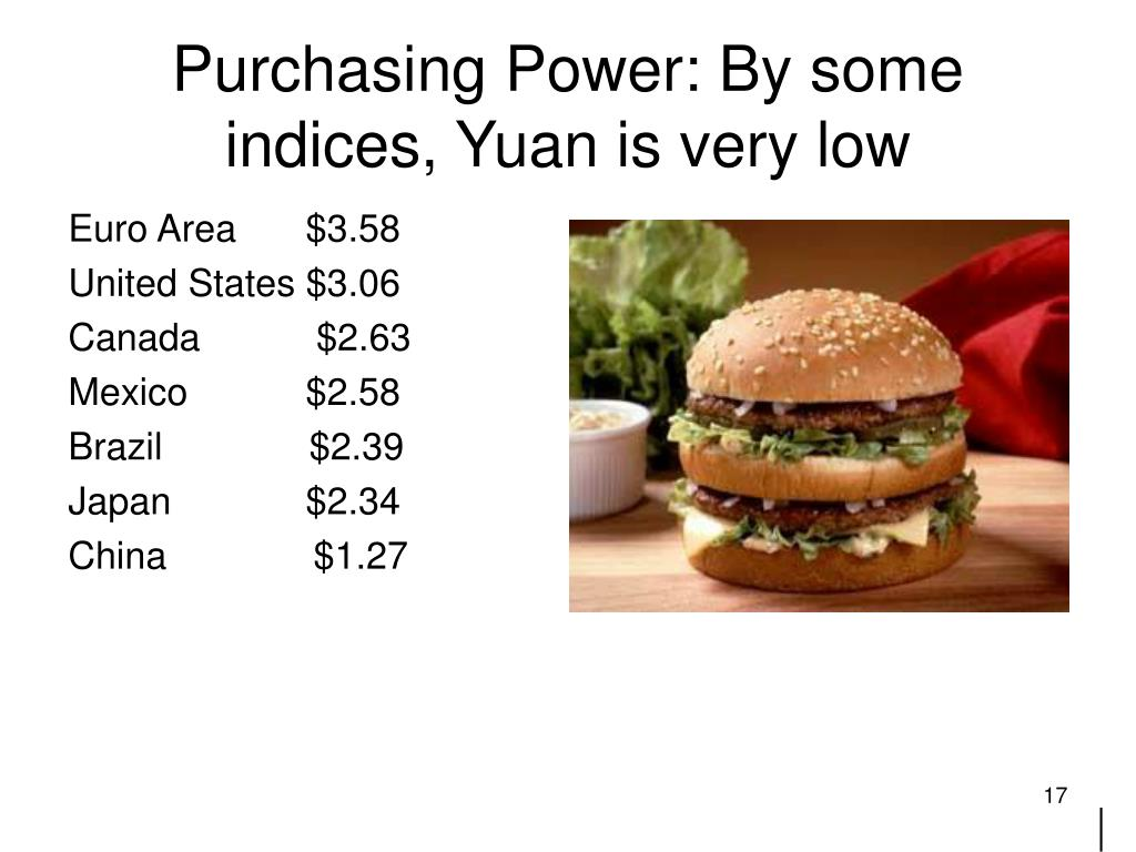 Purchasing Power: By some indices, Yuan is very low