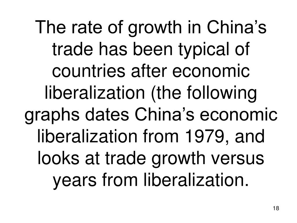 The rate of growth in China's trade has been typical of countries after economic liberalization (the following graphs dates China's economic liberalization from 1979, and looks at trade growth versus years from liberalization.