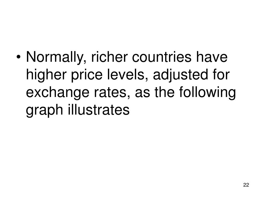 Normally, richer countries have higher price levels, adjusted for exchange rates, as the following graph illustrates