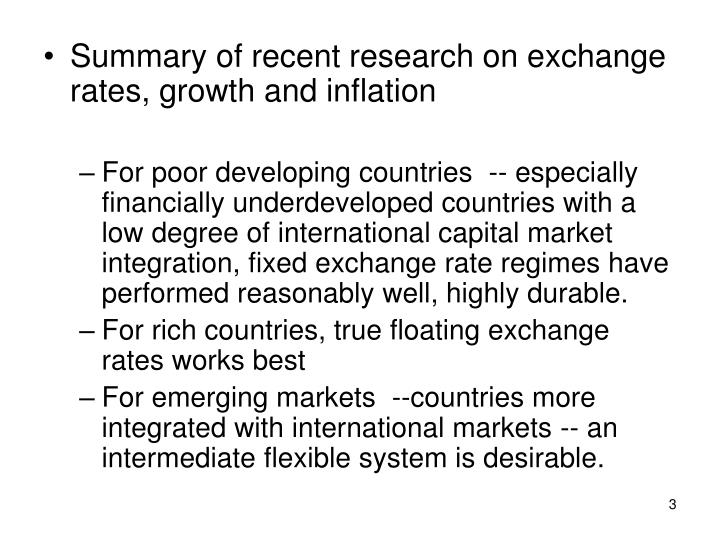 Summary of recent research on exchange rates, growth and inflation