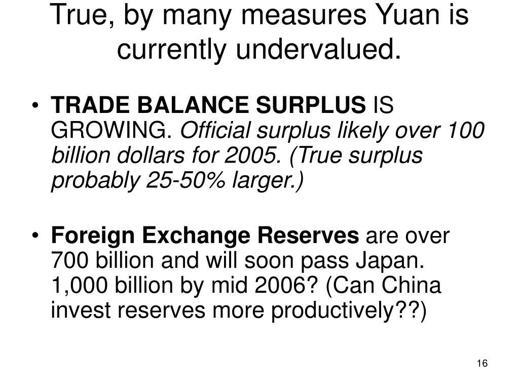True, by many measures Yuan is currently undervalued.