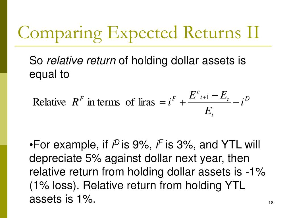 Comparing Expected Returns II