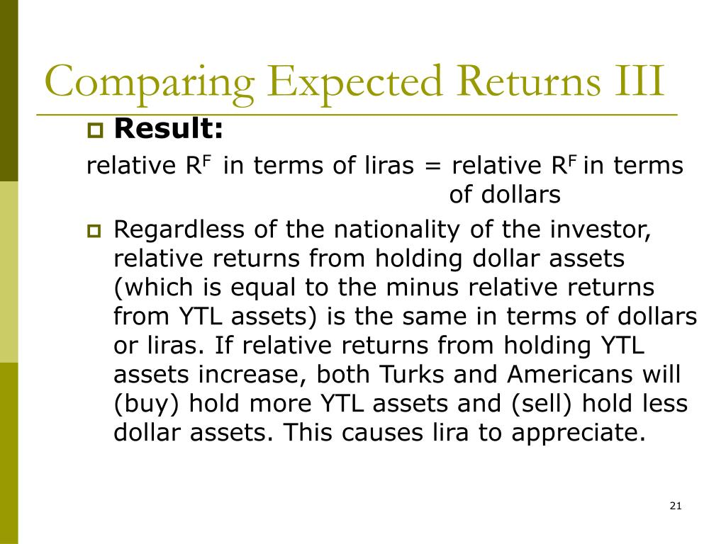 Comparing Expected Returns III