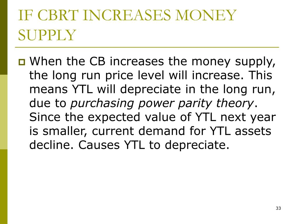 IF CBRT INCREASES MONEY SUPPLY