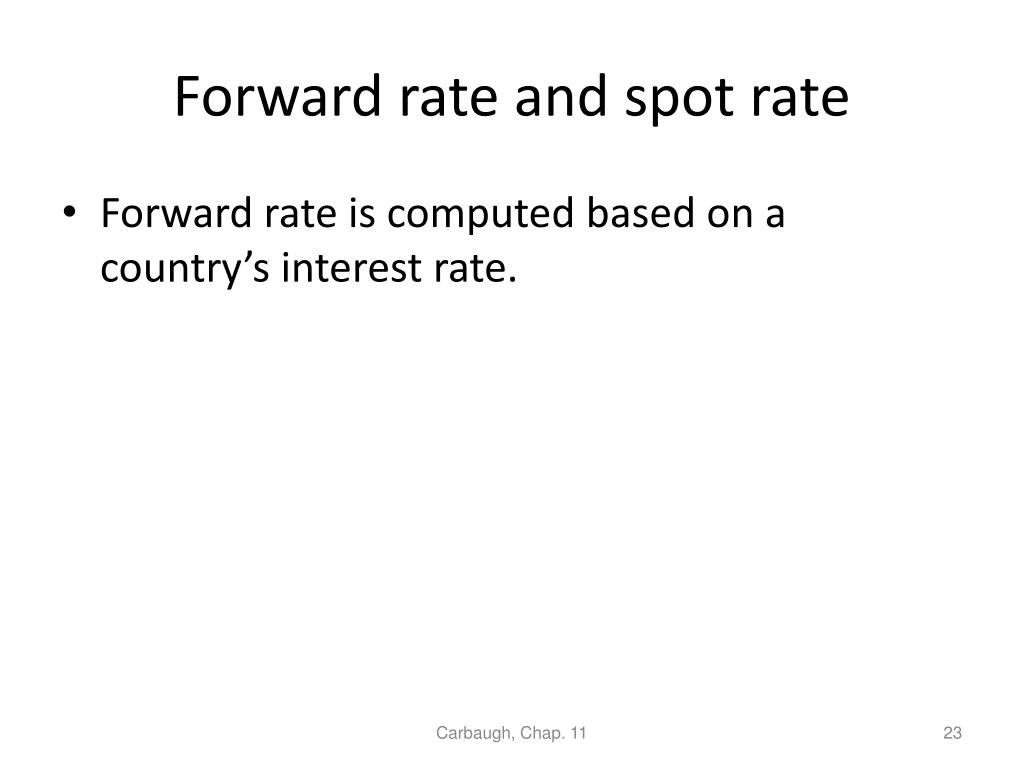 Forward rate and spot rate