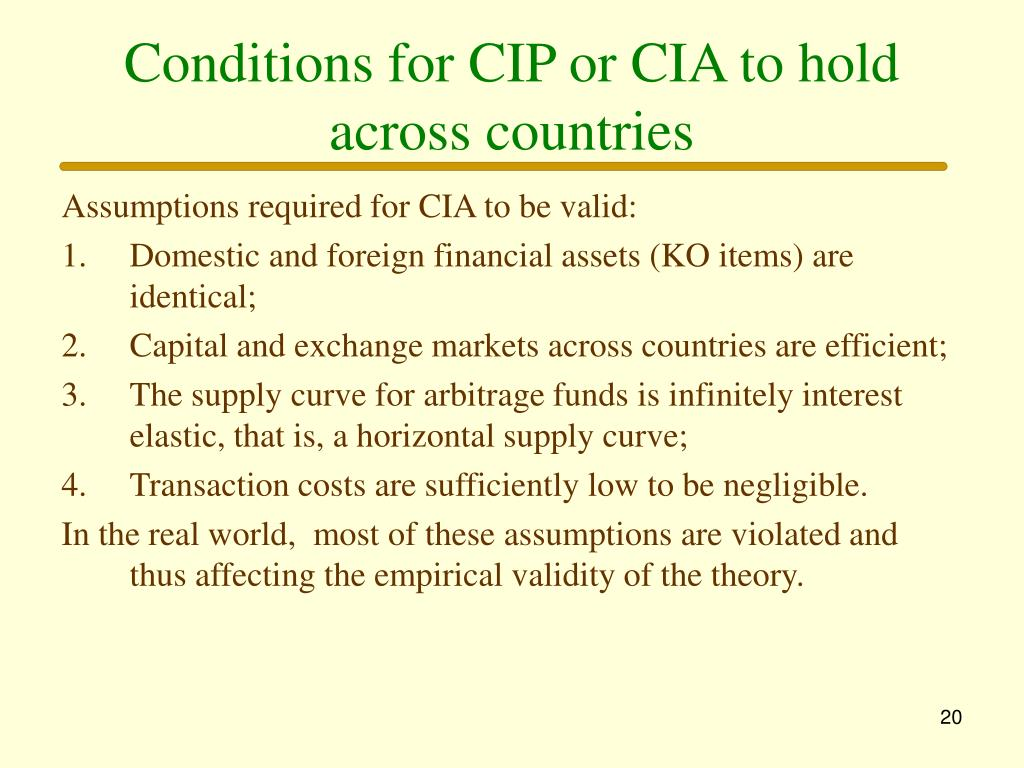 Conditions for CIP or CIA to hold across countries
