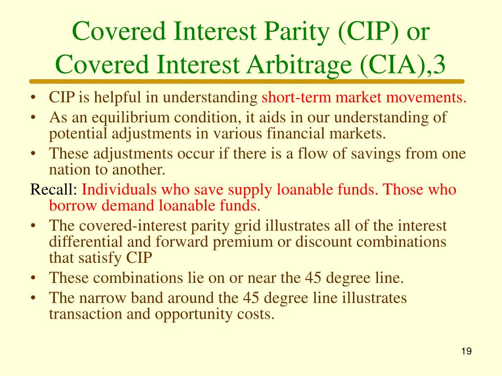 Covered Interest Parity (CIP) or Covered Interest Arbitrage (CIA),3