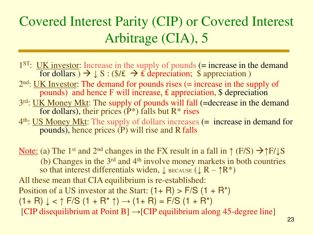 Covered Interest Parity (CIP) or Covered Interest Arbitrage (CIA), 5