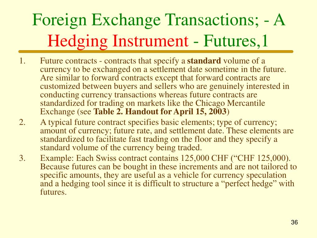 Foreign Exchange Transactions; - A